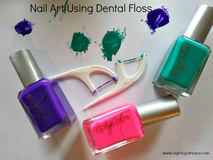 Super Easy Nail Art How To Using Dental Floss
