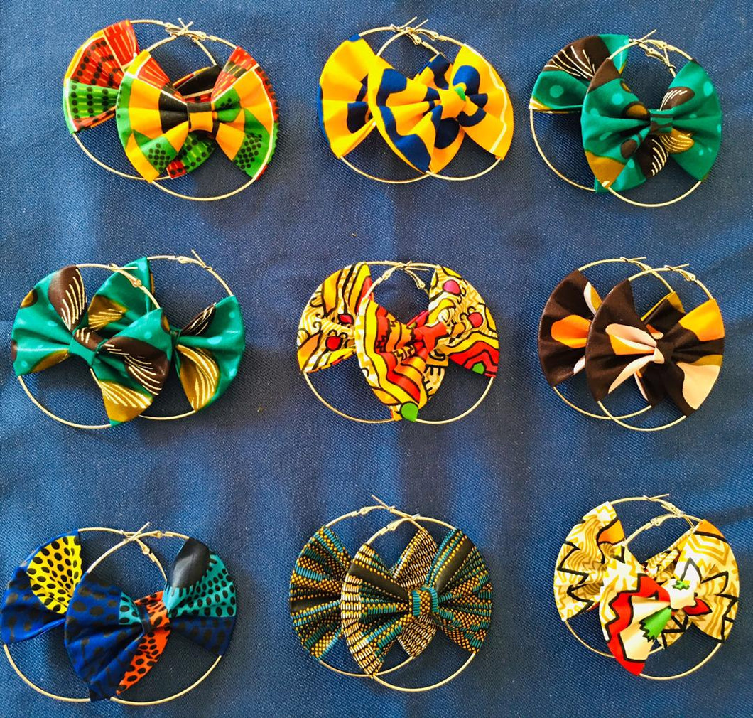 Ankara Bow-Hoop Earrings (Assorted 50pcs)