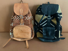 Load image into Gallery viewer, Leather Mudlcoth Backpacks