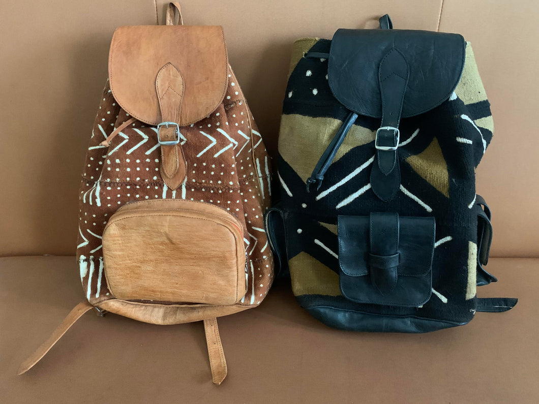 Leather Mudlcoth Backpacks