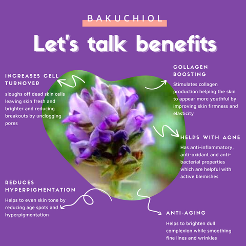 Benefits of Bakuchiol include Collagen Boosting, Reduces Hyperpigmentation, Increases cell turnover