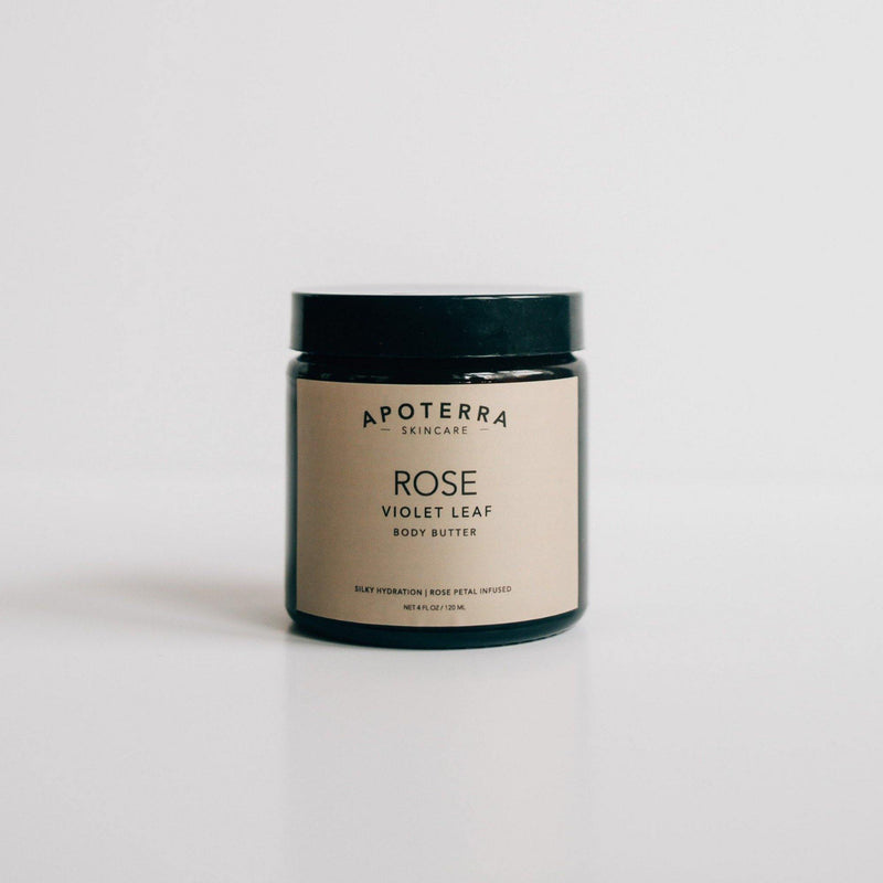 Apoterra Skincare Rose + Violet Leaf Body Butter - Natural Skincare for your body available at Lurra Wellness Inc.