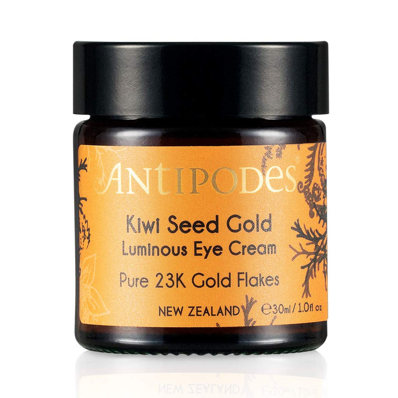 Antipodes Kiwi Seed Oil Luminous Eye Cream Pure 23K Gold Flakes Made in New Zealand Shop natural skincare clean beauty at Lurra Wellness