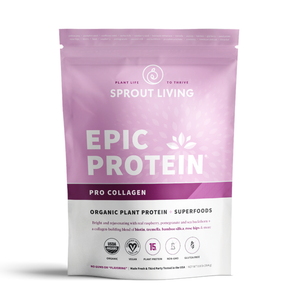 Sprout Living Epic Protein Pro Collagen is an organic plant protein powder that is vegan, gluten free, non-gmo, plant protein. - Lurra Wellness Inc.