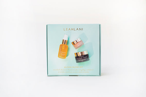 Leahlani Aloha Glow Kit special bundle with Pamplemousse Oil Cleanser, Bless Balm, and Mermaid Mask - Natural Skincare available at Lurra Wellness