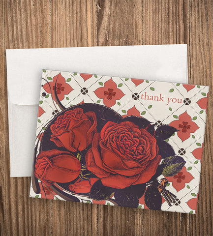 QUILTED ROSE THANK YOU CARD SET
