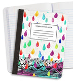 Watercolor Rain Drops Composition Notebook