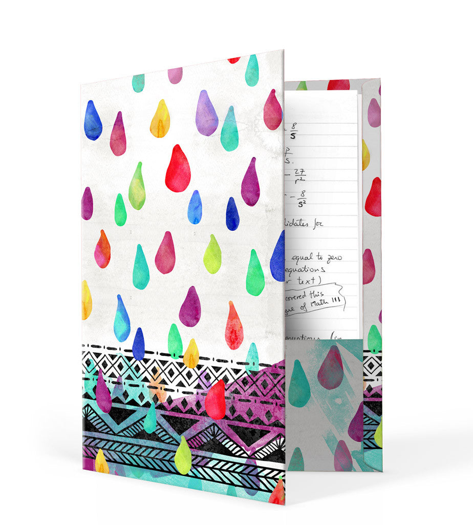 Watercolor Rain Drops Folder