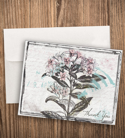 ANTIQUE FLOWER THANK YOU CARD SET