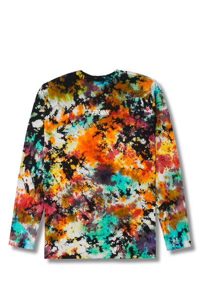 Black Sherbert Long Sleeve Tee Rainbow Tie Dye