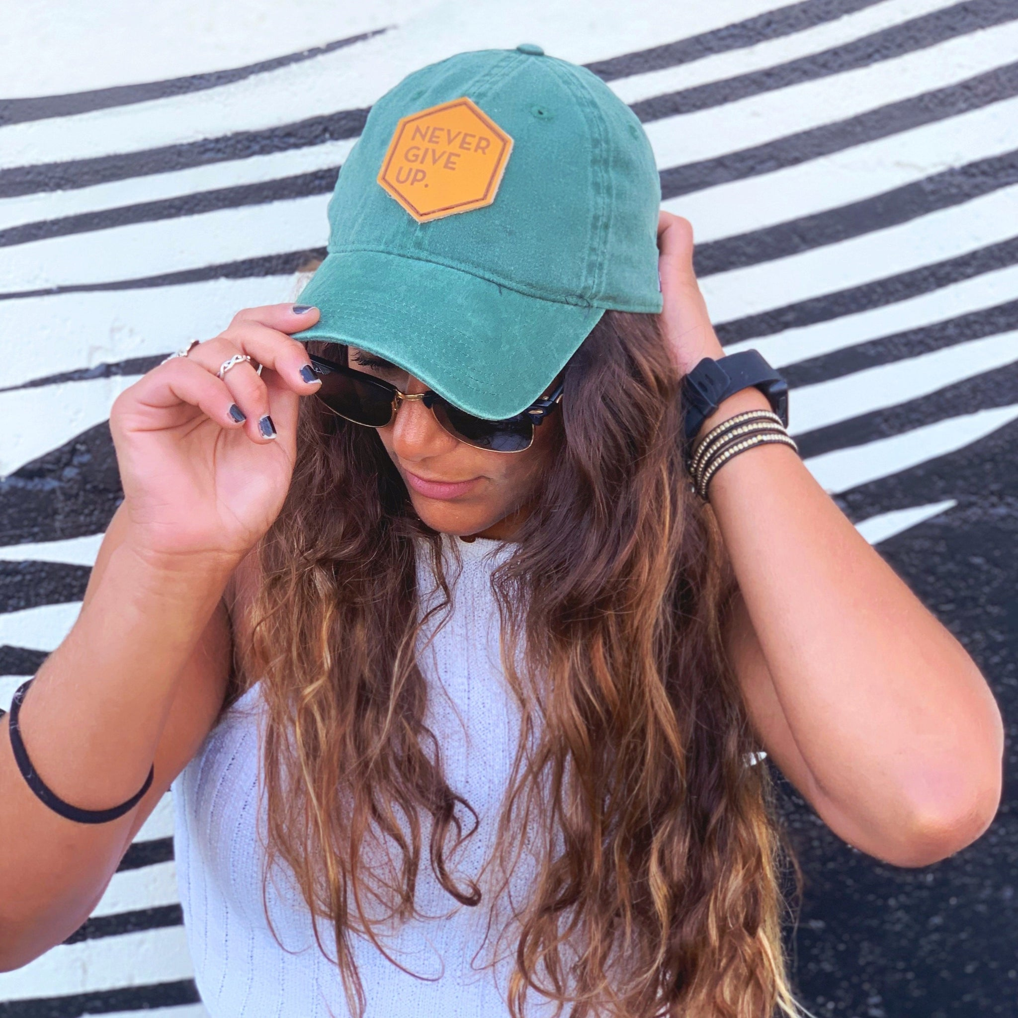 LEATHER PATCH WASHED EVERGREEN CAP