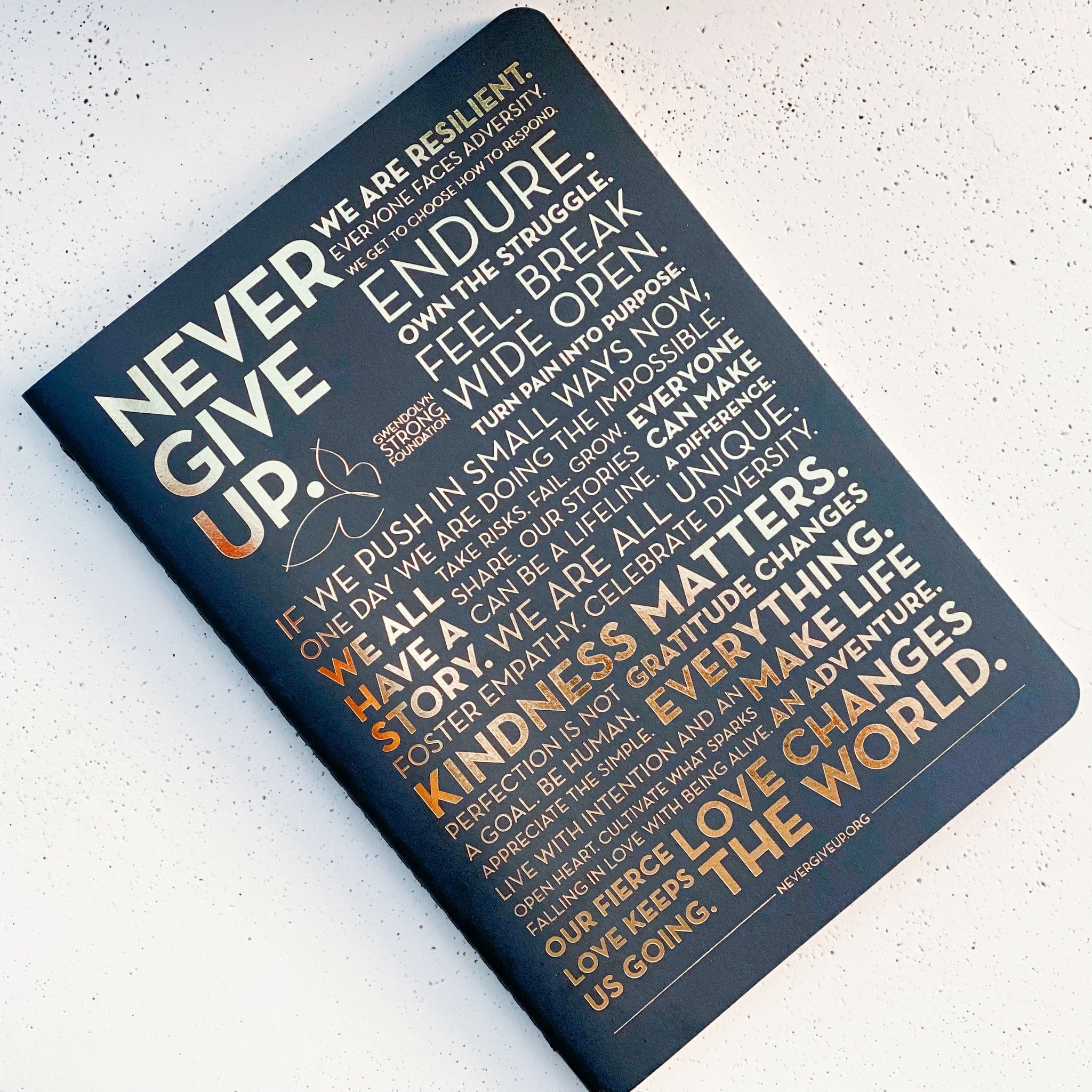 NEVER GIVE UP. MANTRA JOURNAL
