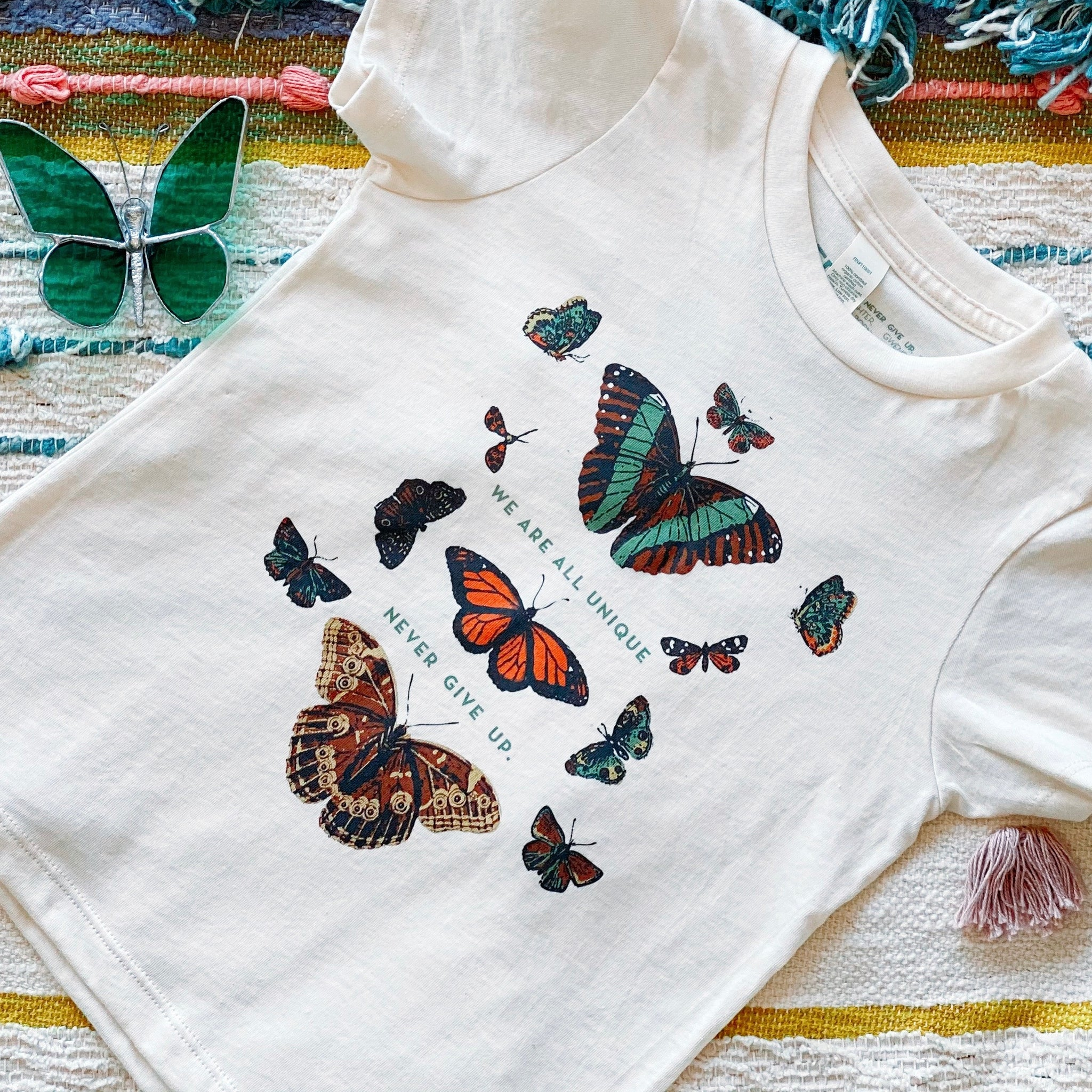 BUTTERFLY WE ARE ALL UNIQUE ORGANIC TEE