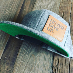 GRAY WOOL + LEATHER PATCH SNAPBACK HAT