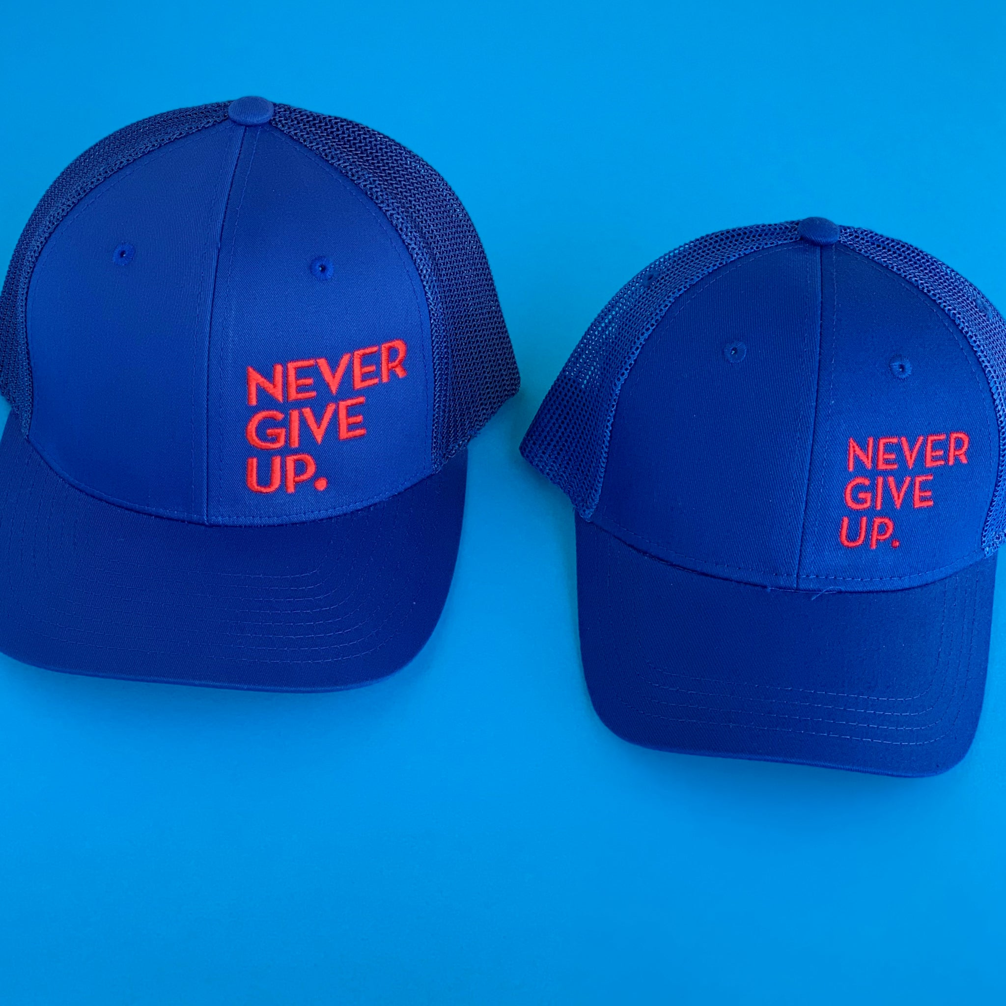 NEVER GIVE UP. HAT (BLUE/RED)