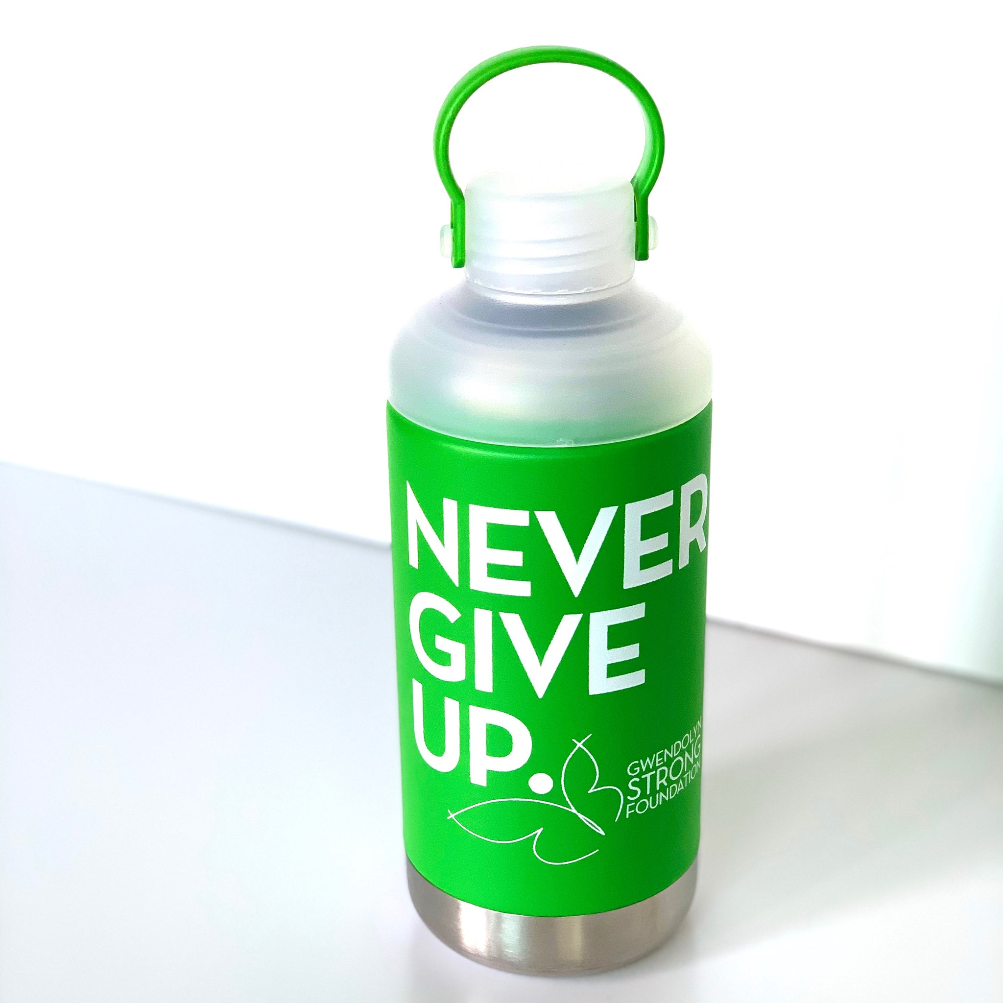 NEVER GIVE UP. INSULATED WATER BOTTLE