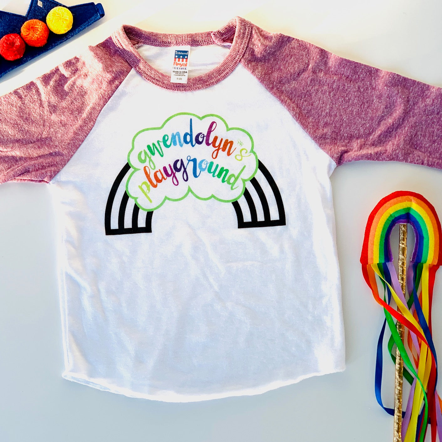 KIDS GWENDOLYN'S PLAYGROUND BASEBALL TEE