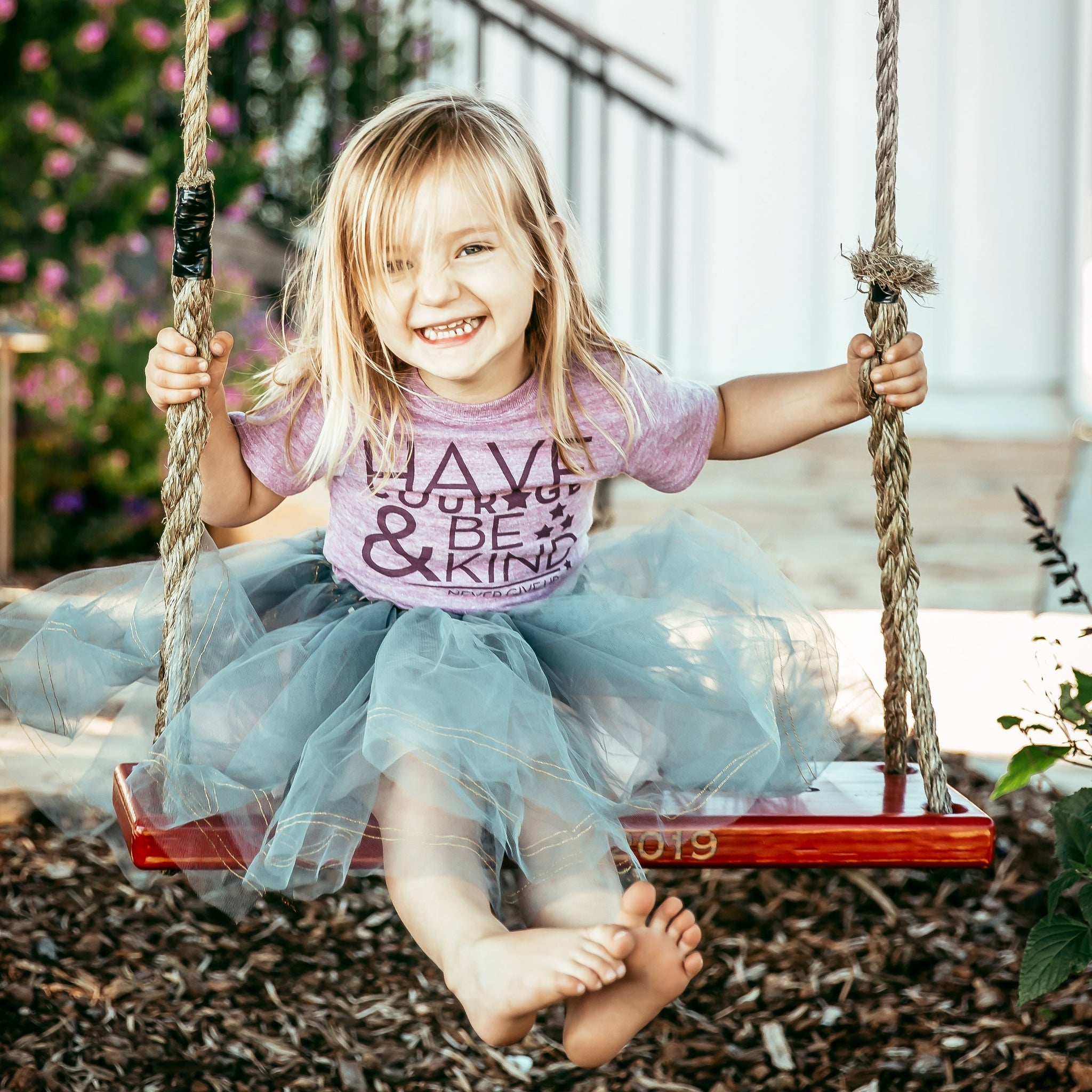 KIDS HAVE COURAGE & BE KIND TEE (LILAC)