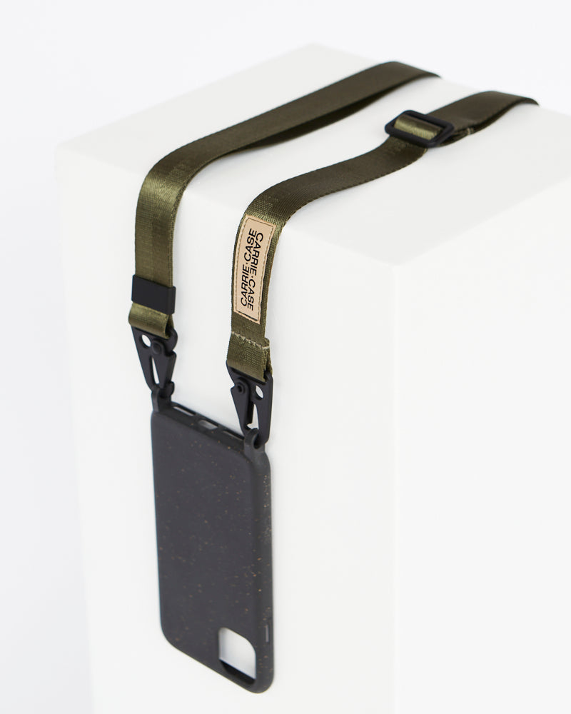 Carrie Case Crossbody Smartphone Case Eco-friendly Smartphone Necklace Carrie Case Utility Lanyard in Olive Plant-based Iphone Bag Byron Bay