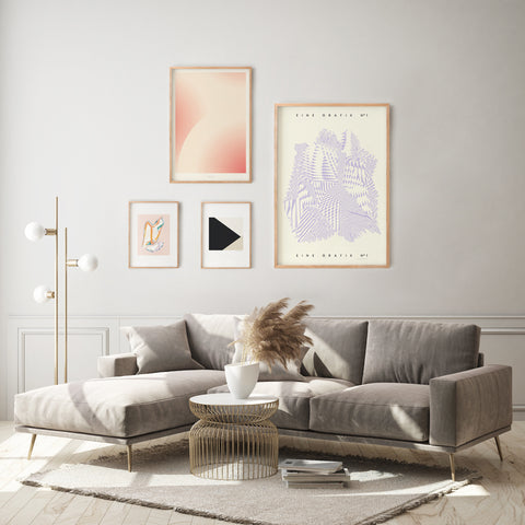 Gallery wall with beautiful posters in a living room