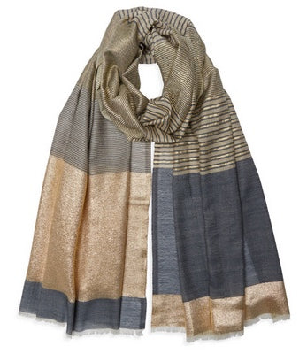 Stripe Edge Pashmina - Natural/Gold