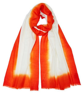 Cashmere Dip Dye Scarf - Orange/Cream