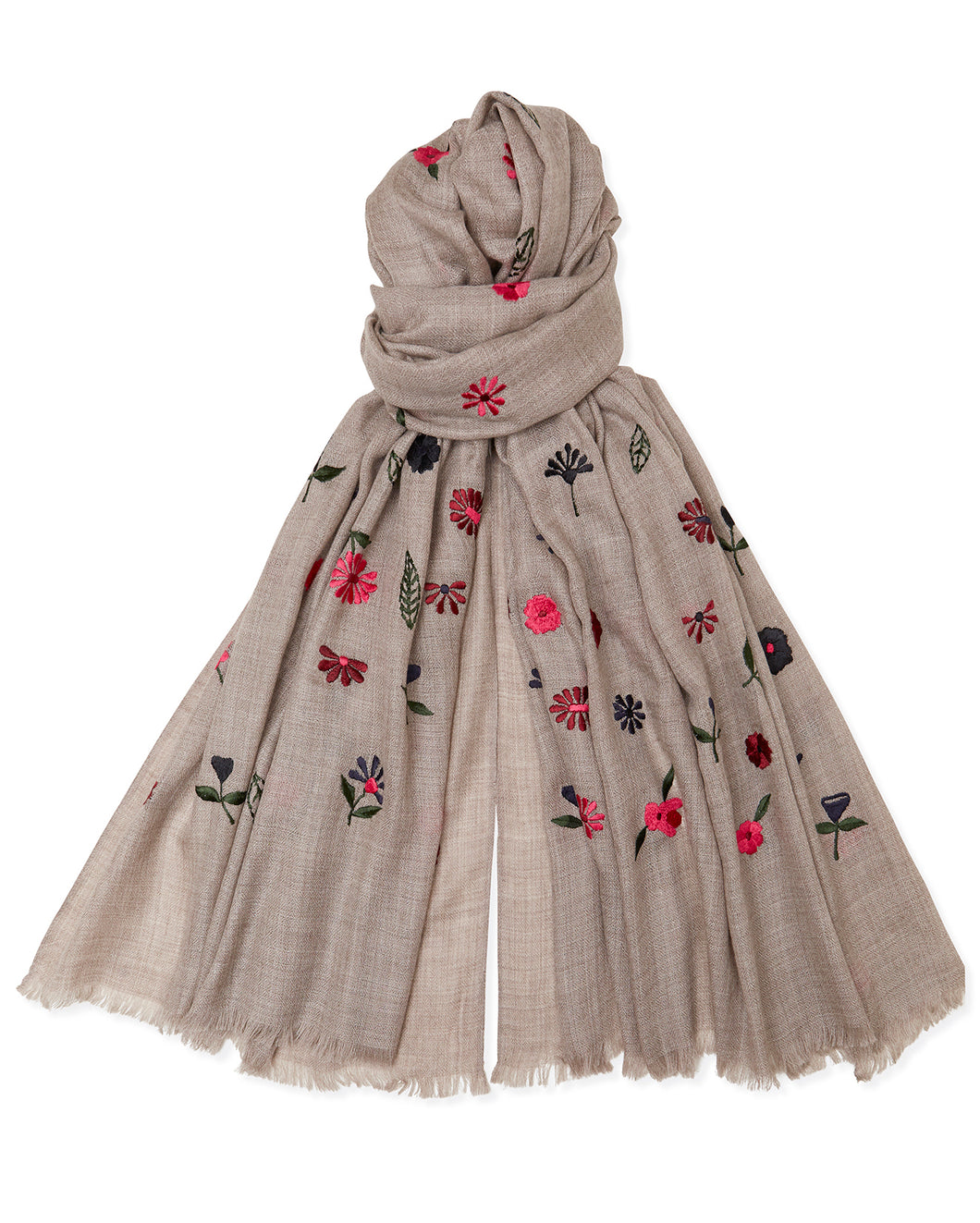 Embroidered Flower Pashmina - Natural/Pink/Black