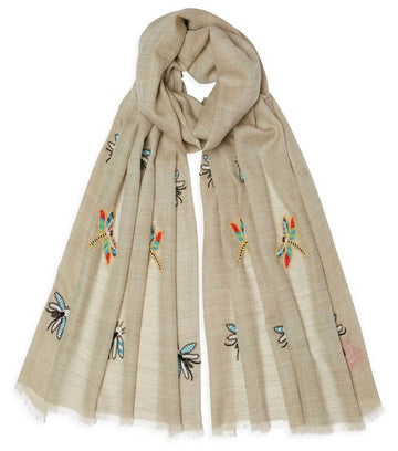 Embroidered Beaded Insect Pashmina - Sand