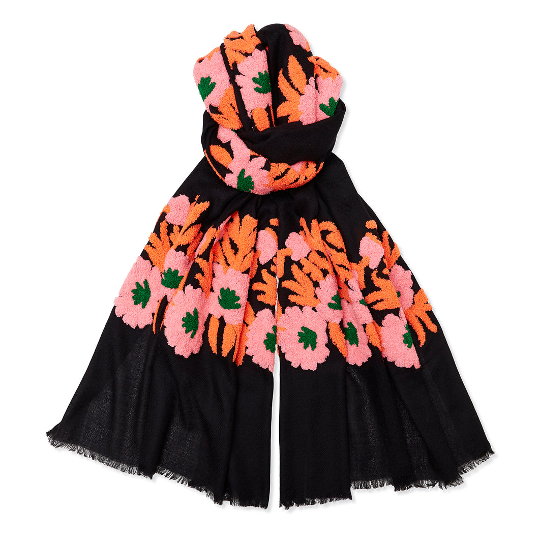 Mexican Flower Pashmina - Black/Orange/Pink