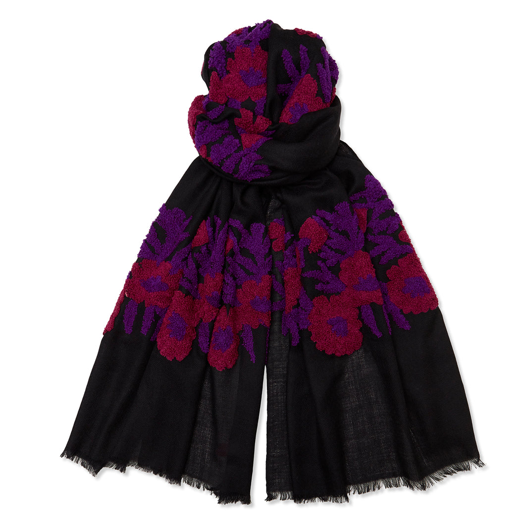 Mexican Flower Pashmina - Black/Purple/Red