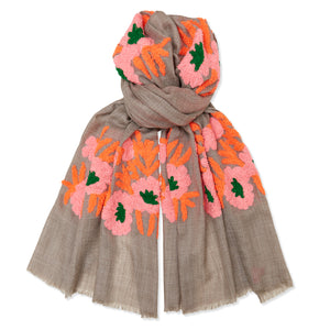 Mexican Flower Pashmina - Natural/Pink/Orange