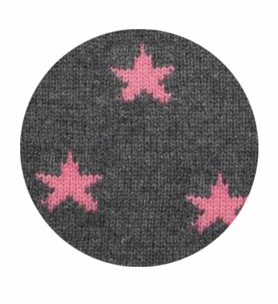 Cashmere Plain Knit Star Beanie - Pink/Grey