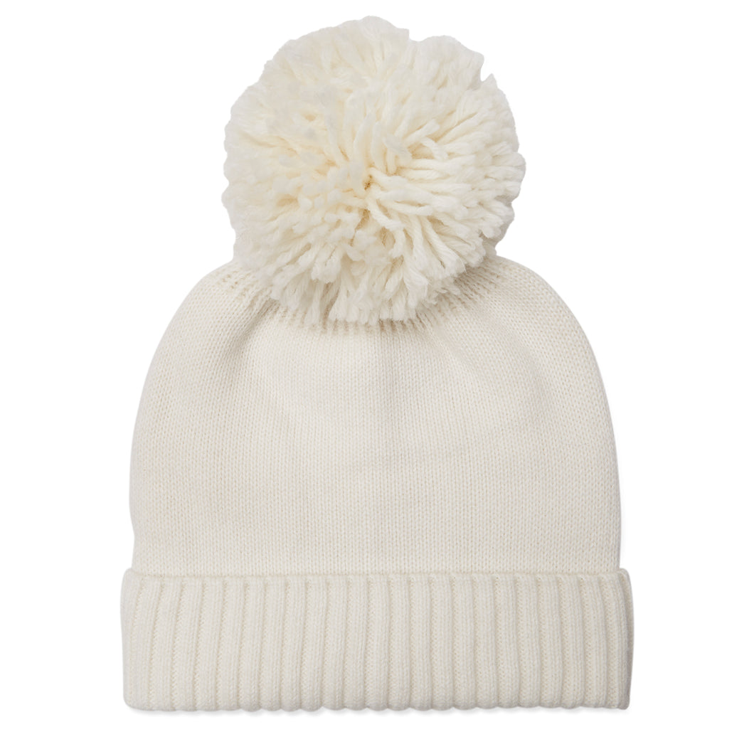 Cream Cashmere Hat With Cashmere Pom Pom
