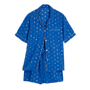 Short PJ With Lurex Spots - Blue/Silver