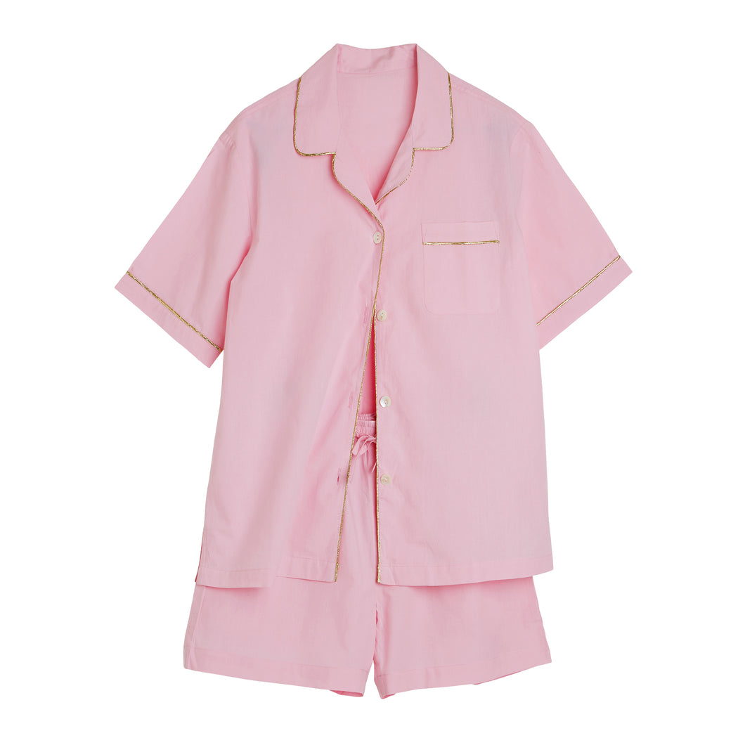 Short PJ Set Plain - Pink/Gold