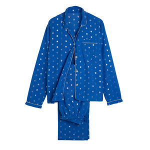 Long PJ Set With Lurex Spots - Blue/Silver