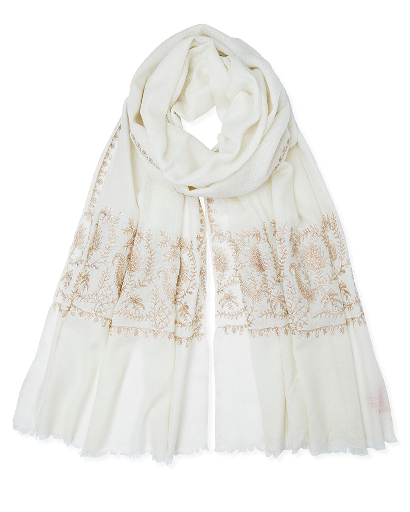 Zari Stitched Border Pashmina - Cream
