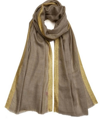 Stripe Edge Pashmina - Gold/Natural