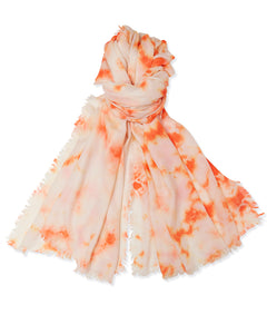 Tie Dye Pashmina - Cream/Orange