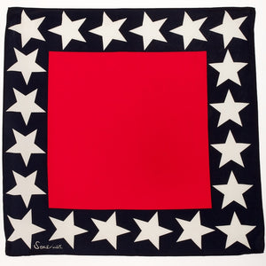 Silk Star Border Square Scarf - Red