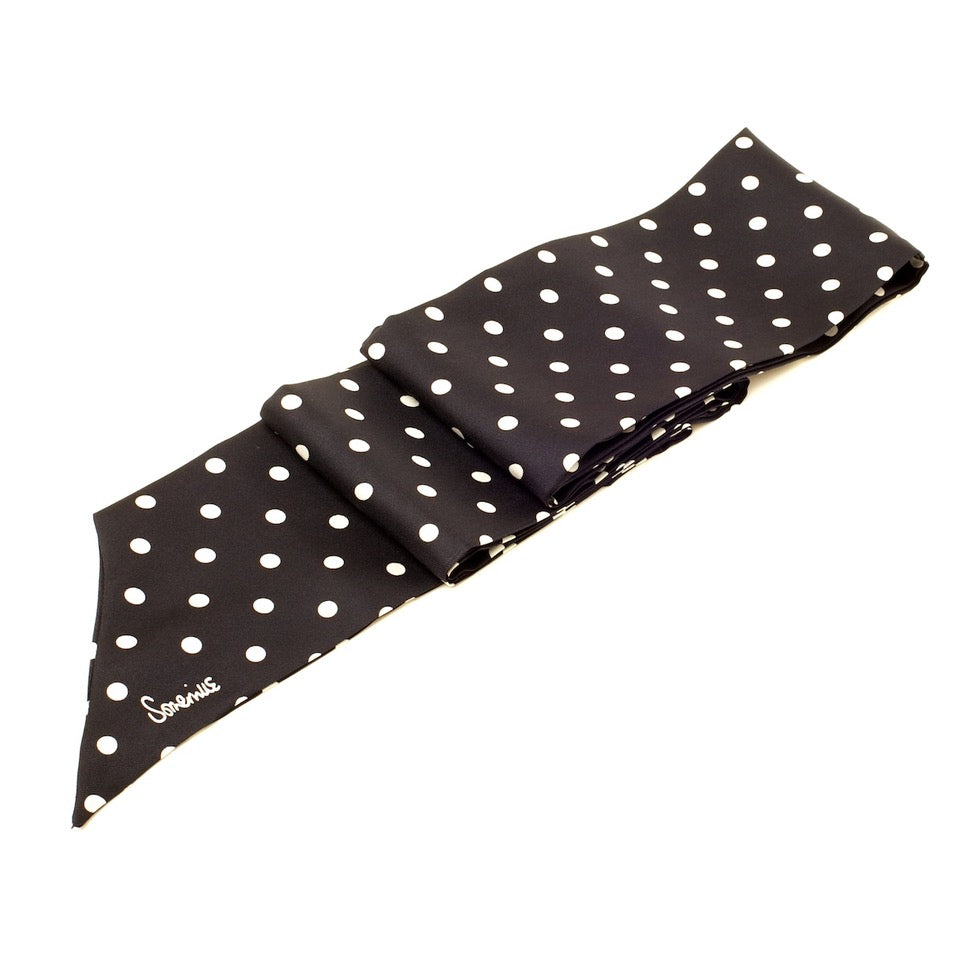 Silk Long Skinny Polka Dot Scarf - Black