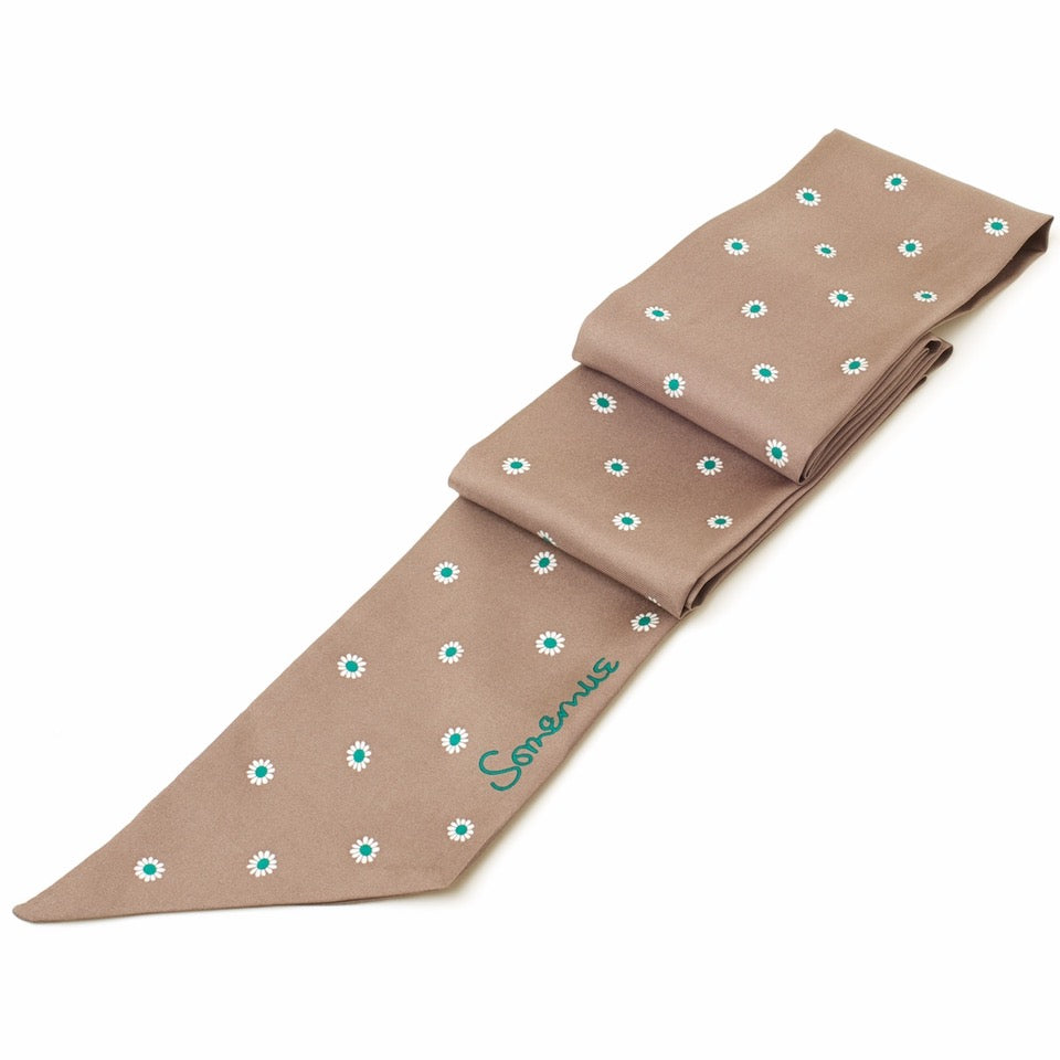 Silk Long Skinny Daisy Scarf - Taupe