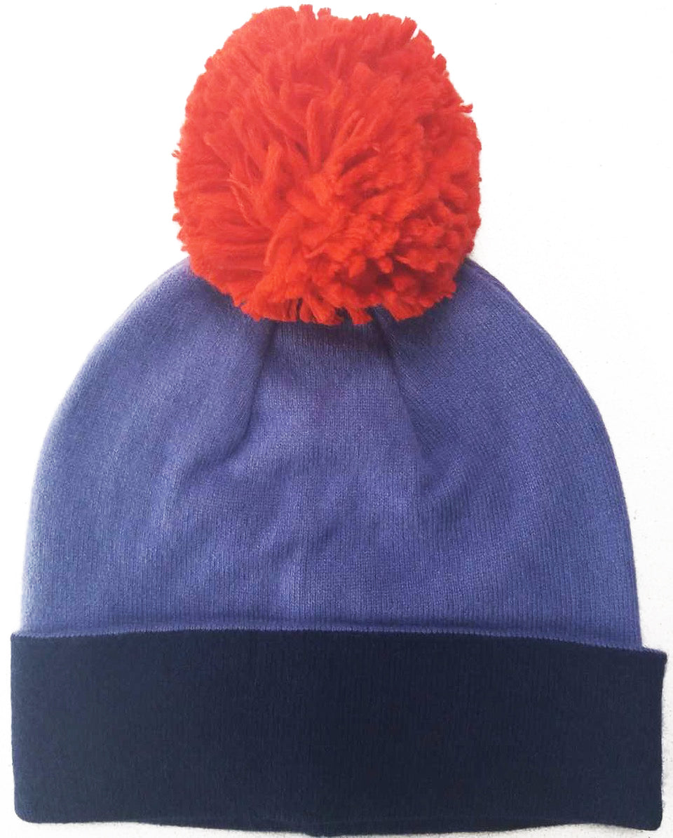Cashmere Bobble Hat Lilac/Navy