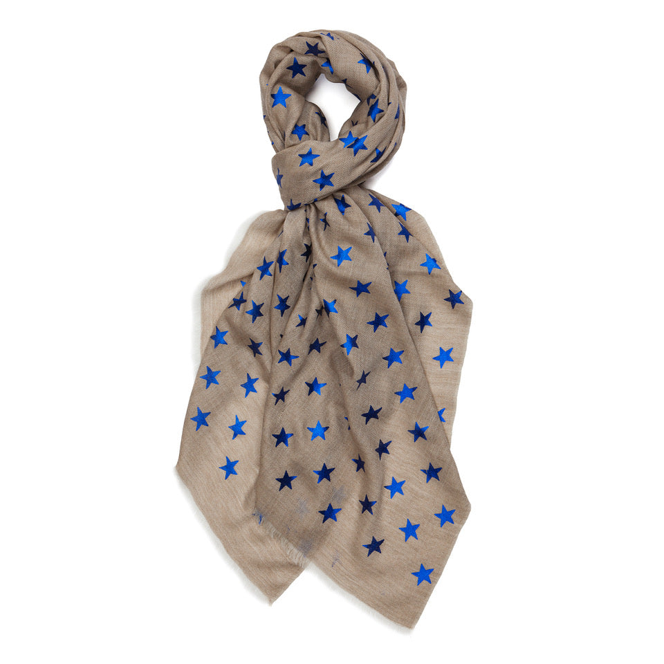 Metallic Star Pashmina - Natural/Blue