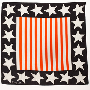 Silk Star Border Square Scarf - Orange Stripe