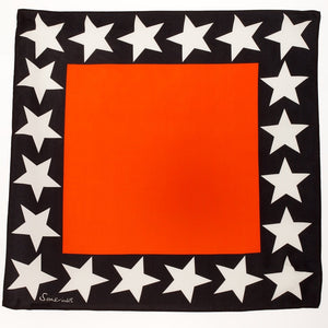 Silk Star Border Square Scarf - Orange