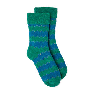Slipper Socks ZigZag - Green/Blue