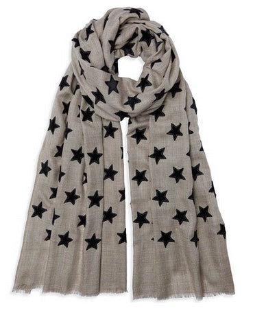 Velvet Star Pashmina - Natural/Black