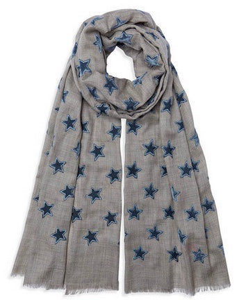 Velvet Star Pashmina - Natural/Grey