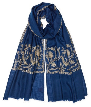 Zari Stitched Border Pashmina - Navy/Gold
